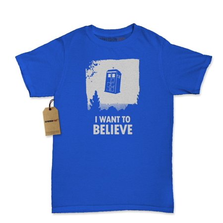 I Want To Believe Dr. Who Flying Tardis Womens T-shirt