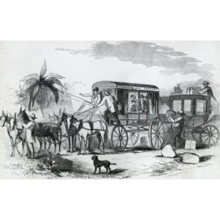 Changing Stagecoach For Celerity Wagon On The Overland Mail 1858 Artist Unknown Poster Print