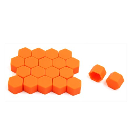 Auto Hub - 20pcs 19mm Orange Luminous Silicone Auto Car Wheel Lug Nut Bolt Hub Screw Cover