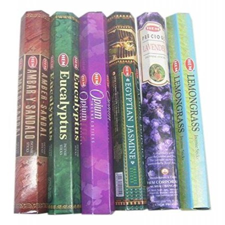 HEM Incense Sticks Best Sellers 6 Boxes X 20 Grams, Variety Pack, Total 120 Gm