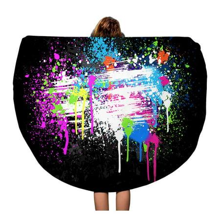 Kdagr 60 Inch Round Beach Towel Blanket Pink Spray Large