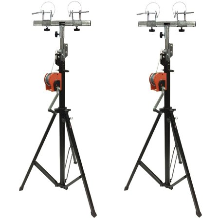 Cedarslink Two (2)xTRUSS 14FT LIGHTING CRANK STANDS 220 LB & UNIVERSAL T ADAPTER DJ PA CLUB (Dj Light Stand With Case)