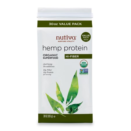 Nutiva Organic, Cold-Processed Hemp Protein from non-GMO, Sustainably Farmed Canadian Hempseed, Hi-Fiber, 30-Ounce