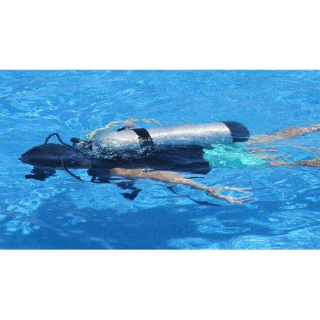 Canvas Print Diver Oxygen Swim Oxygen Bottle Deep Sea Fishing Stretched Canvas 10 x 14