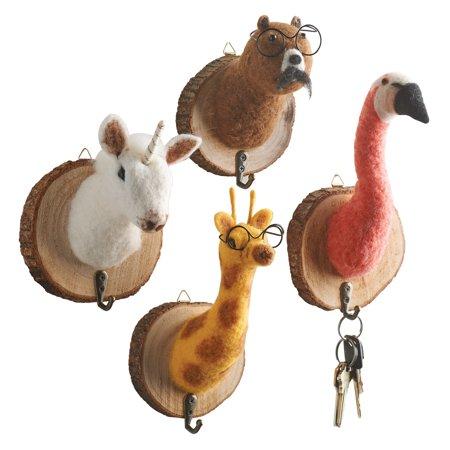 Felted Animal Head Wall Hooks (set of 4) - Bear, Flamingo, Giraffe, and Unicorn ()