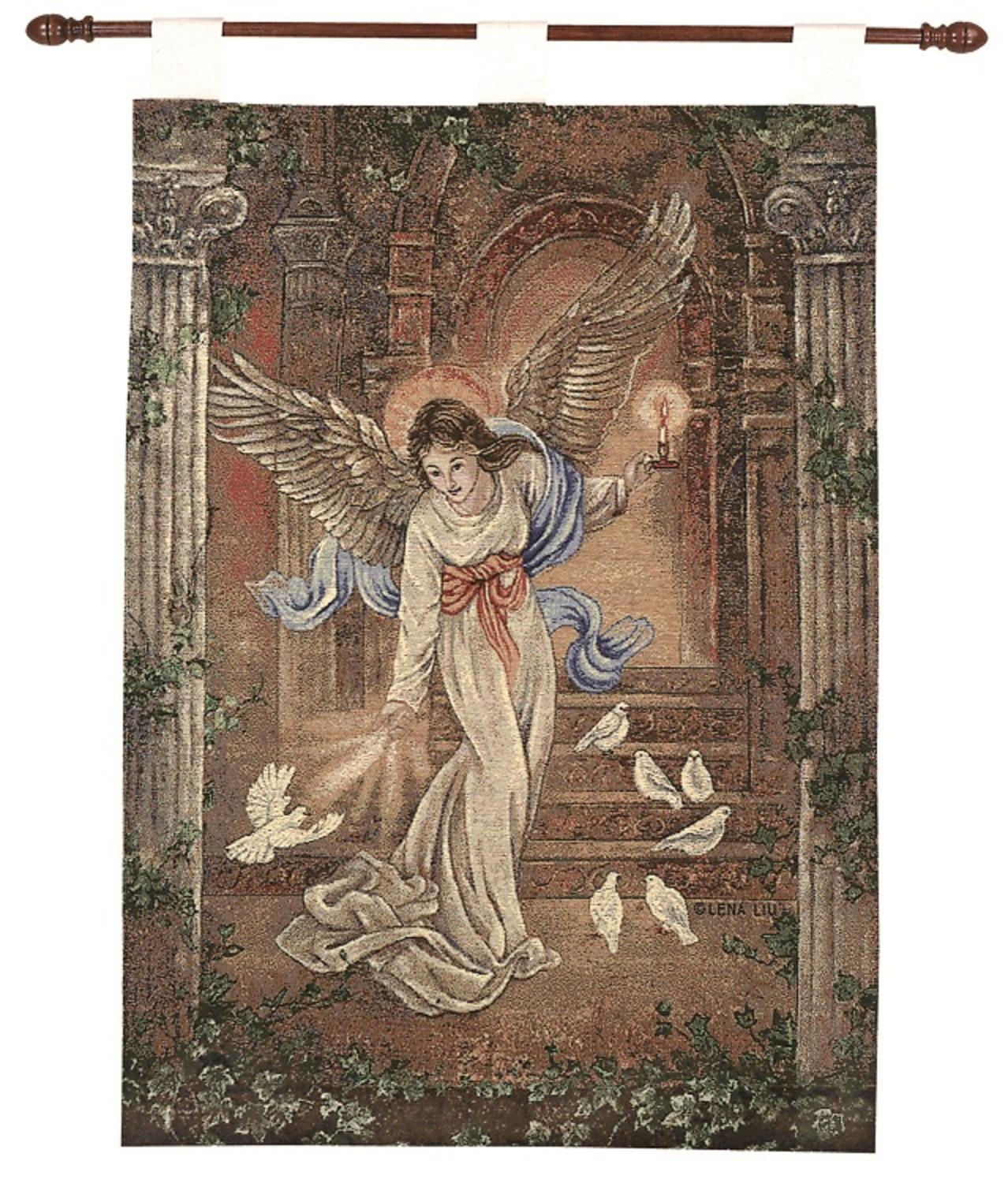 "Tapestry Wall Art lena liu ""angel of light"" pictorial religious wall art hanging"