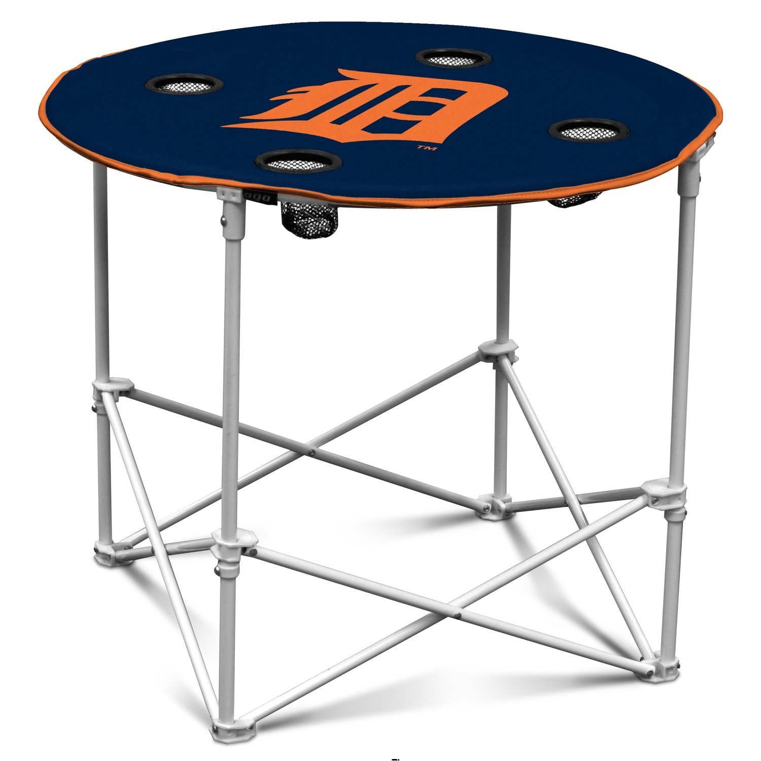Click here to buy Camping Table, Logo Detroit Tigers Round Dining Camp Table, With 4 Cup Holder by Logo Chair.