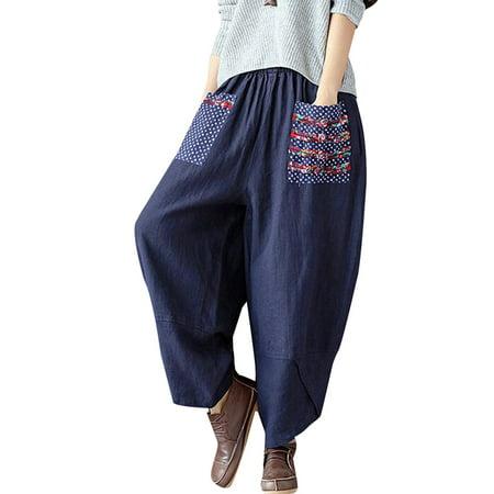 Women's Pants Printed Wide Leg Pocket Casual Streetwear Harem Trousers