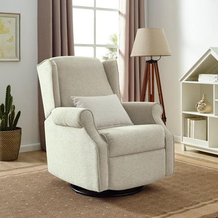 Modern Essentials Buena Vista Popstitch Upholstered Glider Swivel Rocker Chair, Multiple Colors Swivel Rocker Frame Color