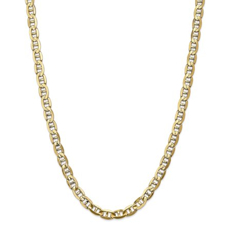 14k Yellow Gold 7mm Concave Link Anchor Necklace Chain Pendant Charm Fine Jewelry For Women Gift (Gold Concave Anchor Chain)