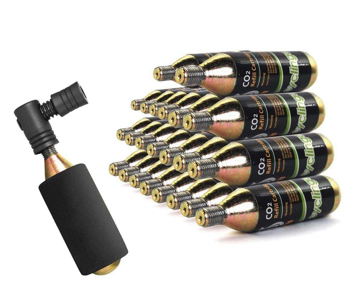 24 x Bike Bicycle Air Pump Inflator 16g CO2 Threaded Cartridges & Pump by Cyclingdeal