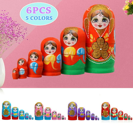 6 pcs Russian Hand Painted Nesting Doll Matryoshka Stacking Toys Babushka Retro Style Dolls Collectable Wood Craft Kids Birthday Gift 6 Layers - Craft Dolls