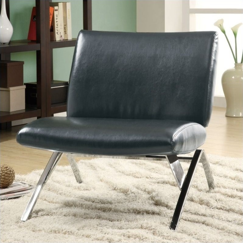 Leather Look Accent Chair, Black with Chrome Metal Legs