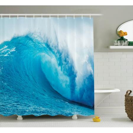 Ocean Life Shower Curtain Set Wavy Adventurous Surfing Extreme Water Sports Summer Holiday Destination