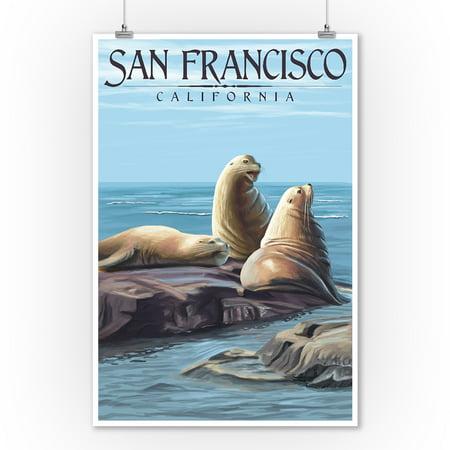 San Francisco, California - Sea Lions - Lantern Press Artwork (9x12 Art Print, Wall Decor Travel