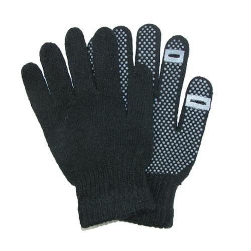 CTM®  Grip Knit Texting Winter Gloves, Black