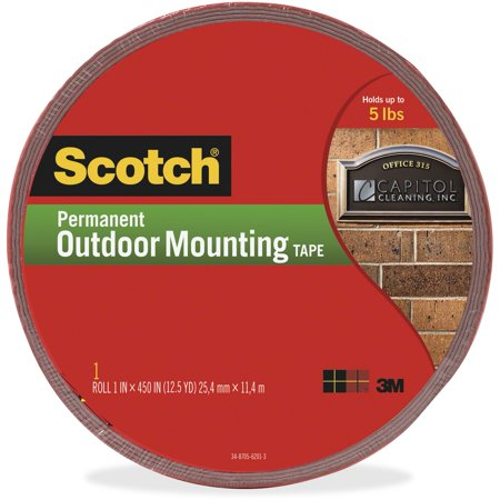 Scotch, MMM4011LONG, 5 lb Permanent Outdoor Mounting Tape, 1 Roll, Gray (Stick Permanent Mounting Squares)