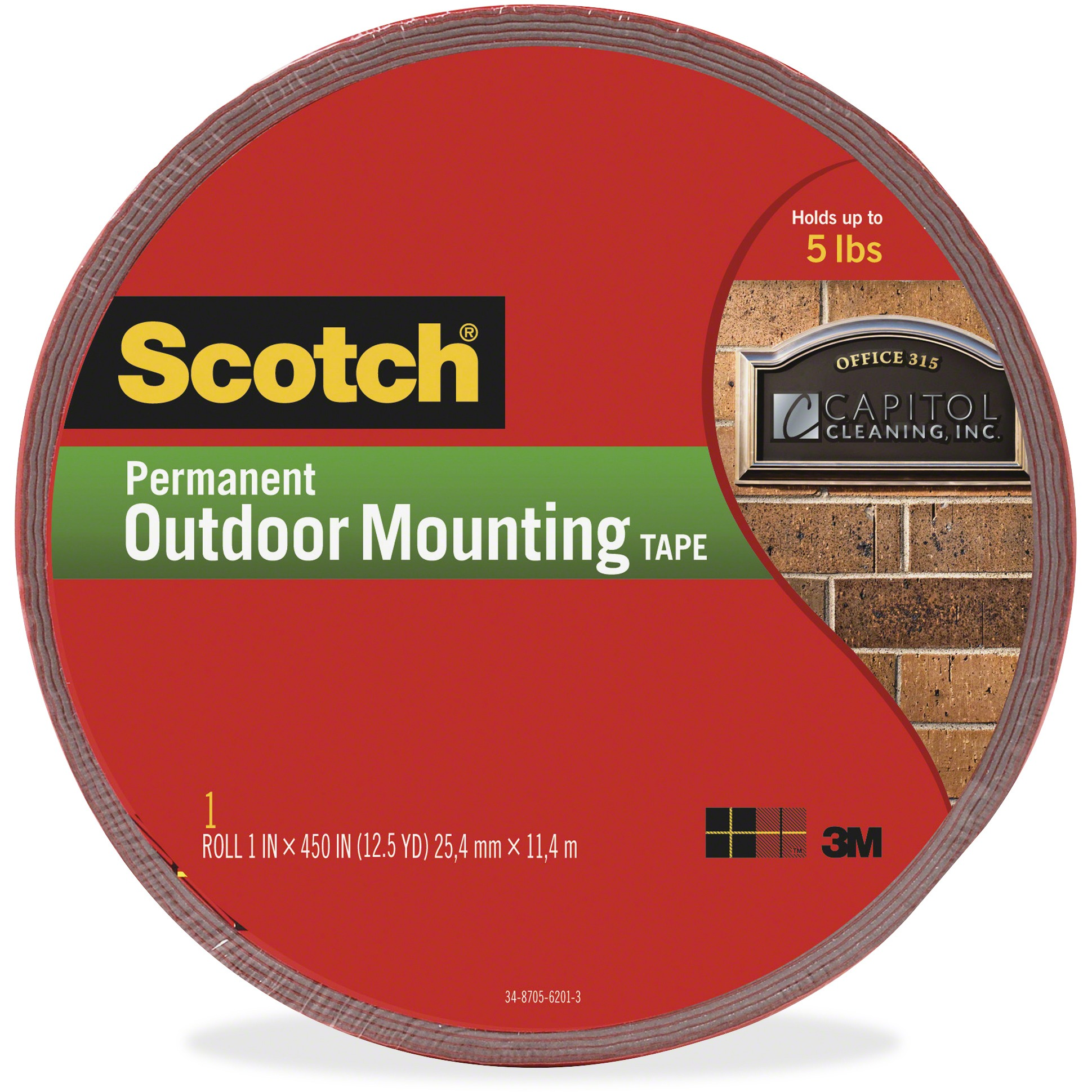 Scotch, MMM4011LONG, 5 lb Permanent Outdoor Mounting Tape, 1 Roll, Gray