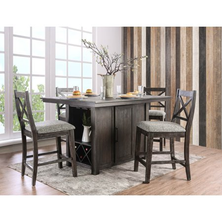 Furniture Of America Toby 5 Piece Rustic Farmhouse Counter Height Storage Table Set