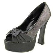 """pleaser brand style party-42 black satin bow & glitter platform high heels party shoes 5"""" chunky heel"""