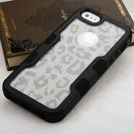 iPhone SE Case, iPhone 5S Case, by Insten Black Frame Full Glitter TUFF Vivid Hybrid Hard PC/TPU Case For Apple iPhone SE / 5 / 5S - Silver/Black Leopard - image 2 of 5