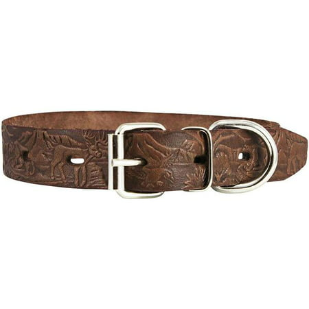 Dogs My Love Genuine Tooled Leather Dog Collar Hunting Pattern Brown 3 Sizes (Neck Circumf: 10