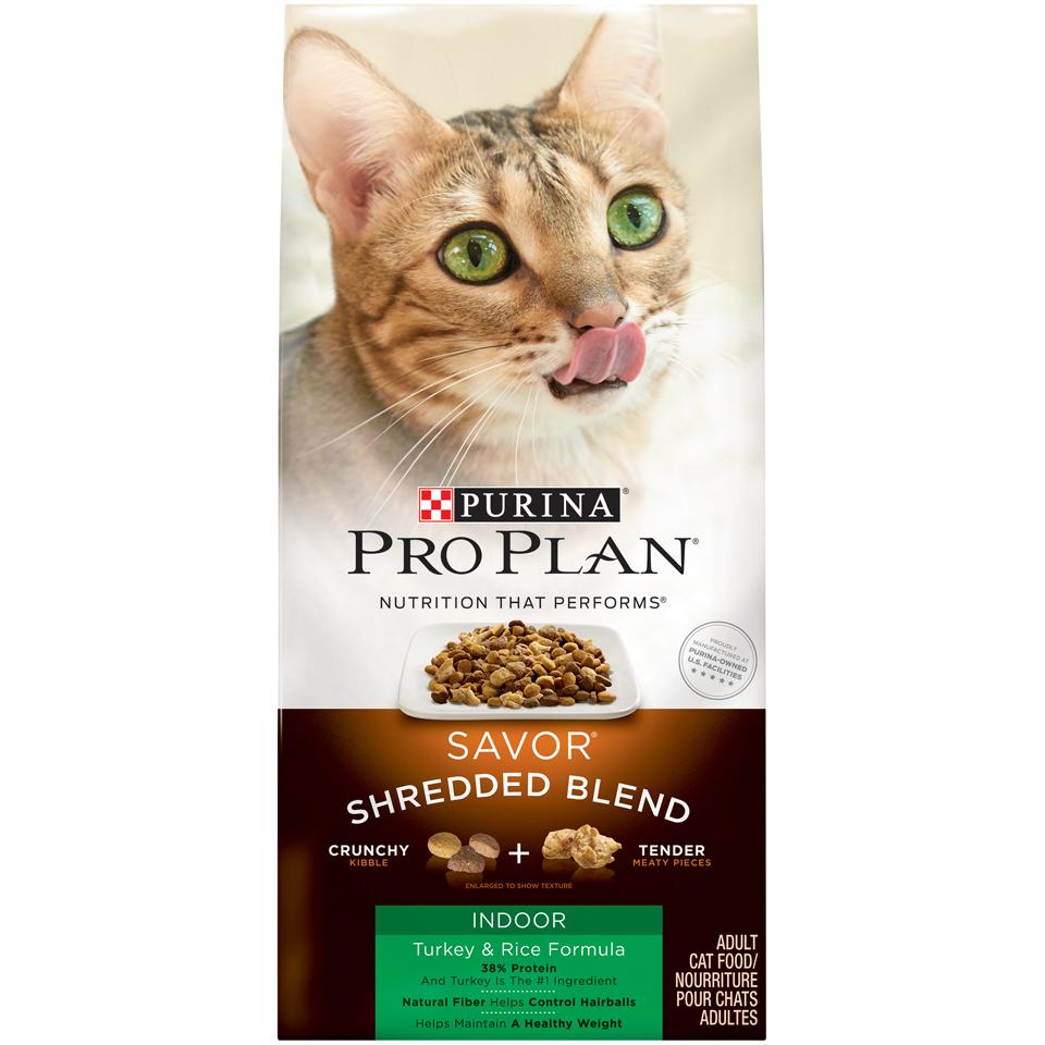Purina Pro Plan Hairball, Indoor Dry Cat Food; SAVOR Shredded Blend Indoor Turkey & Rice Formula - 3 lb. Bag