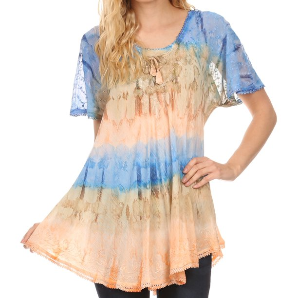 Sakkas Monet Long Tall Tie Dye Ombre Embroidered Cap Sleeve Blouse Shirt Top - Navy / Brown - One Size