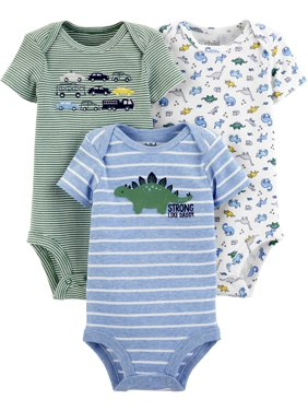 Child Of Mine By Carter's Short Sleeve Bodysuits, 3Pk (Baby Boys)