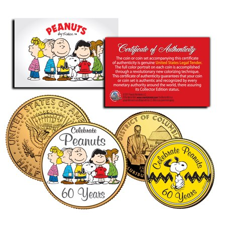 PEANUTS Charlie Brown SNOOPY *60 Years* DC Quarter & JFK Half Dollar 2-Coin Set