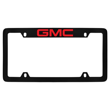 GMC Red Logo Black Coated Metal Top Engraved License Plate Frame Holder