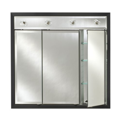 Afina Signature Contemporary Lighted Triple Door 34W x 34H in. Recessed Medicine Cabinet