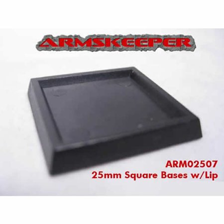 25mm Square Base (Square Solid 25mm Miniature Bases with Lip Pack of 20 ArmsKeeper )