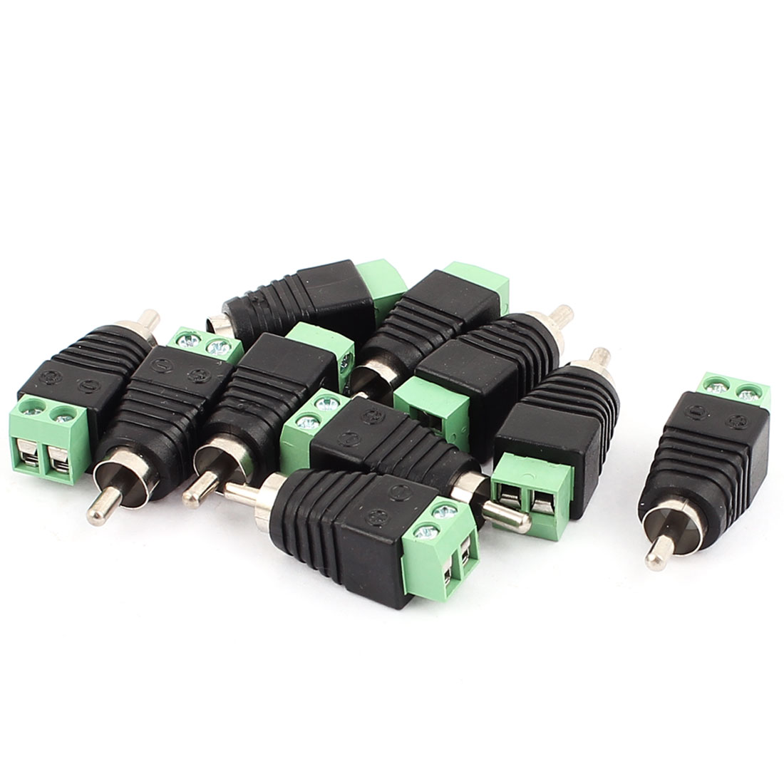 Unique Bargains 10 Pcs Speaker RCA Wire to AV Phono Male RCA Connector Jack Adapter
