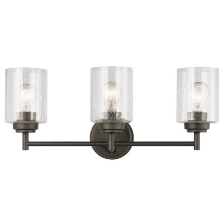 Kichler Lighting Winslow Three Light Bath Vanity Olde Bronze Finish With Clear Seeded Gl