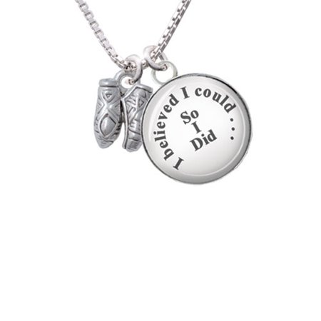Small Ballet Slippers - I Believed I Could So I Did Glass Dome Necklace - Glass Slippers Are So Back