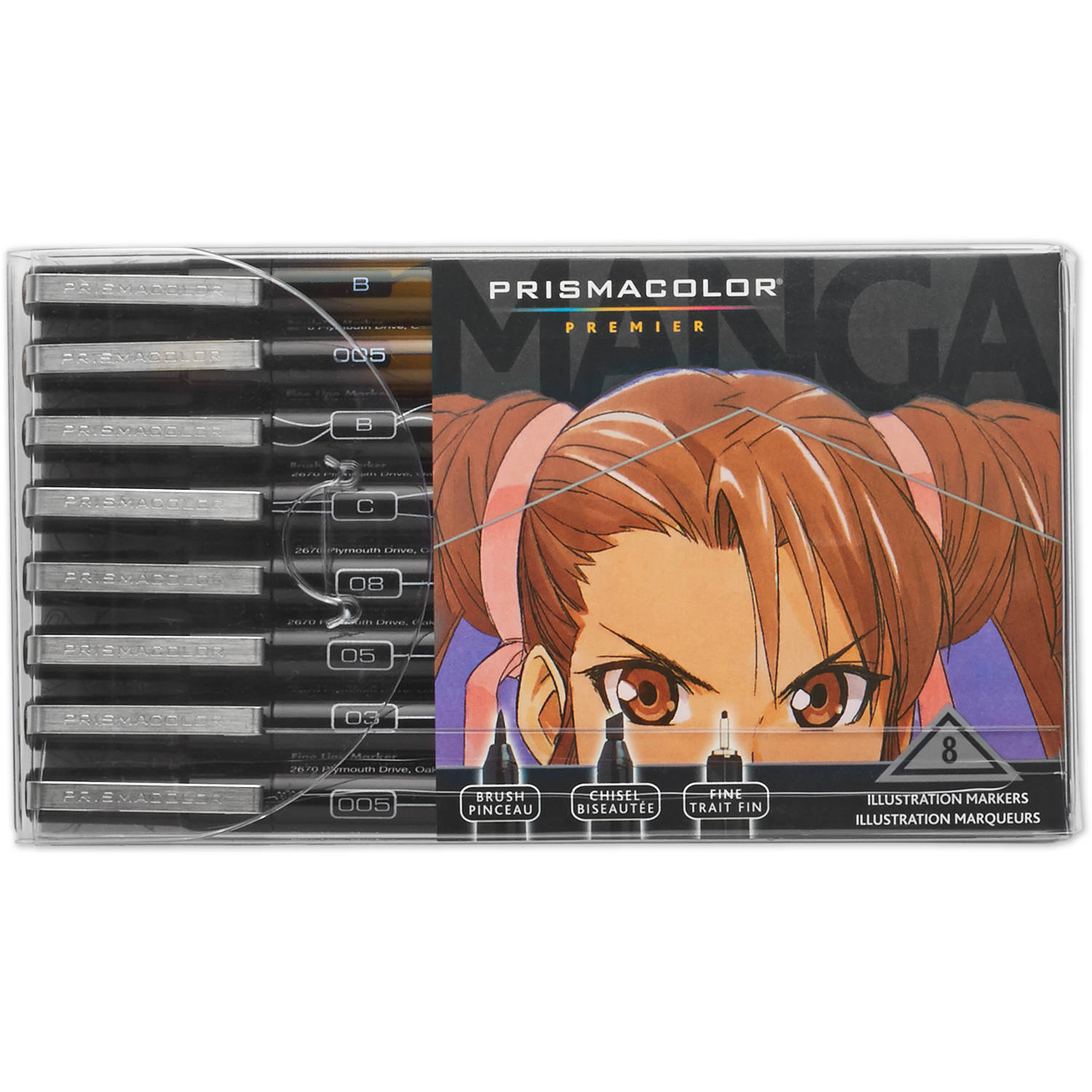 Prismacolor Premier Manga Illustration Markers, Assorted Tips, Black and Sepia, 8-Pack