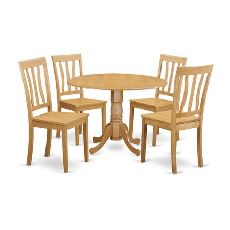 Dlan5 Oak W 5 Piece Dinette Set Dinette Table And 4 Kitchen Chairs