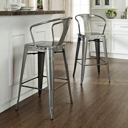 Phenomenal Crosley Amelia Metal Cafe Bar Stool With Back Galvanized Set Of 2 Squirreltailoven Fun Painted Chair Ideas Images Squirreltailovenorg