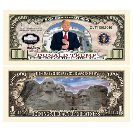 Set of 5 - Donald Trump Legacy Limited Edition Million Dollar Bill - Highly Collectible Novelty Dollar Bill - Funny for Democrats or Republicans - Funniest.., By American Art (Million Dollar Bill Novelty)