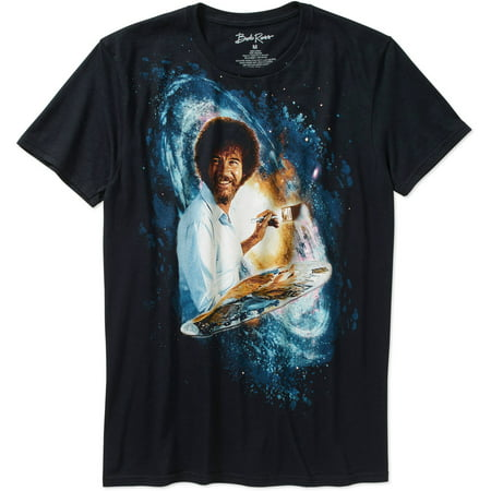 Bob Ross Men's Galaxy Short Sleeve Graphic T-Shirt, up to Size 3XL (Assymetrical Bob)