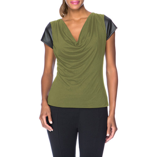 Miss Tina Women's Cowl Neck Top With Faux Leather Sleeves