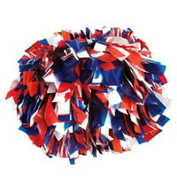 Pizzazz Royal Blue Red White 3 Color Plastic Cheer Single Pom Pom