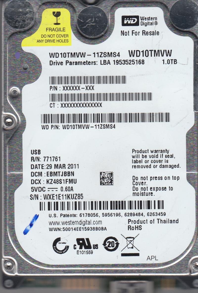 WD10TMVW-11ZSMS4, DCM EBMTJBBN, Western Digital 1TB USB 2.5 Hard Drive by Western Digital