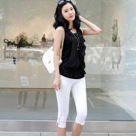 Women Casual Skinny Slim Pencil Pants Trousers Capris