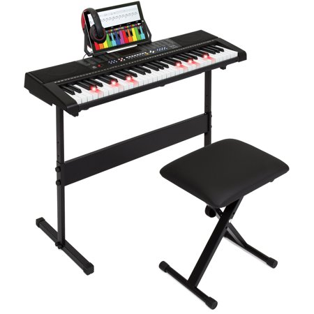 Best Choice Products 61-Key Electronic Keyboard w/ Light-Up Keys, 3 Teaching Modes, H-Stand, Stool, Headphones -