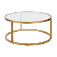 Parker Round Coffee Table in Brass Finish