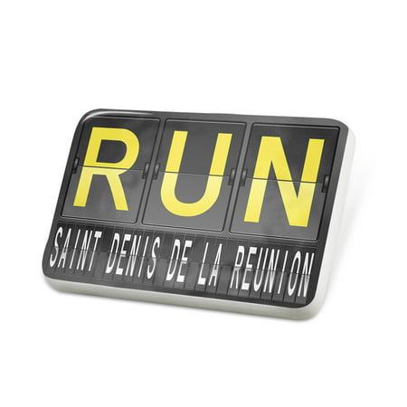 Porcelein Pin RUN Airport Code for Saint Denis de la Reunion Lapel Badge – NEONBLOND