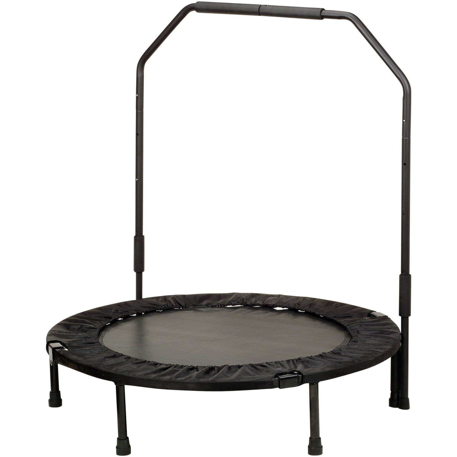 Sunny Health and Fitness 40-Inch Foldable Trampoline Rebounder, with Handlebar, Black