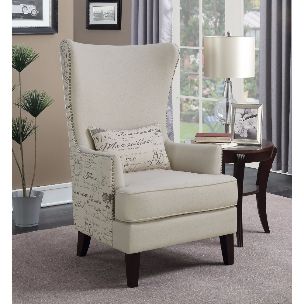 Accent Chair With Writing On Them: Coaster Accent Chair In Cream, French Script Writing